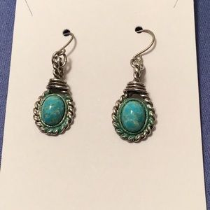 Tiny turquoise set in silver earrings